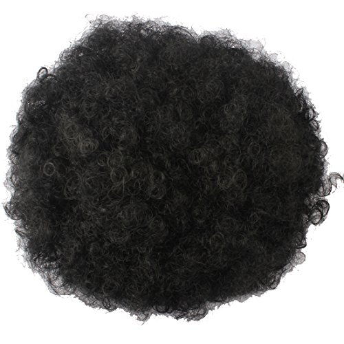 (Riyang Women's Hair Bun Afro Kinky Curls Short Hair Drawstring Ponytail Heat Resistant Jet Black #1)