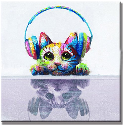 100% Hand-painted Colorful Cat with Headset Oil