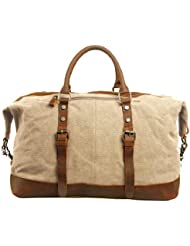 Aibag Oversized Leather Canvas Casual Travel Tote Luggage Duffel Handbag