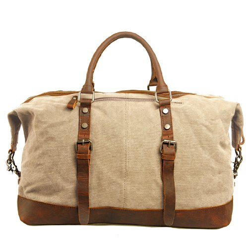 Aibag Oversized Leather Canvas Casual Travel Tote Luggage Satchel Hobo Duffel Bag, Beige