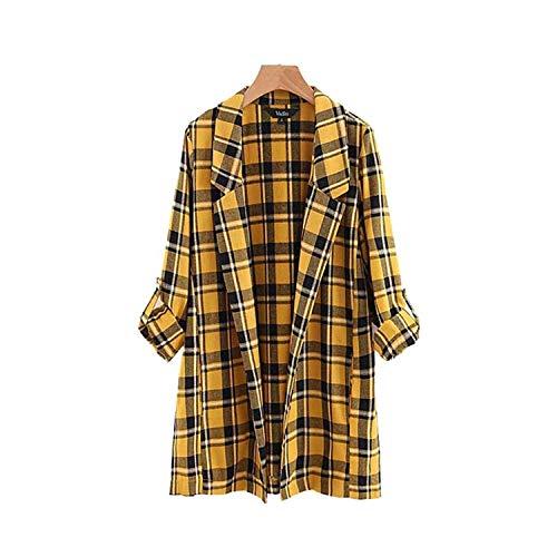 Women Yellow Plaid Loose Long Blazer Checkered Pockets