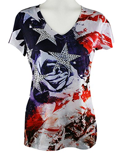 Big Bang Clothing Company - Rose Flag, Cap Sleeve, V-Neck Rhinestone Print Top