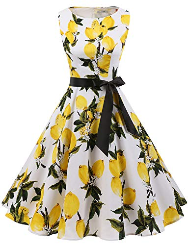 Gardenwed Women's Audrey Hepburn Rockabilly Vintage Dress 1950s Retro Cocktail Swing Party Dress Lemon Flower 2XL