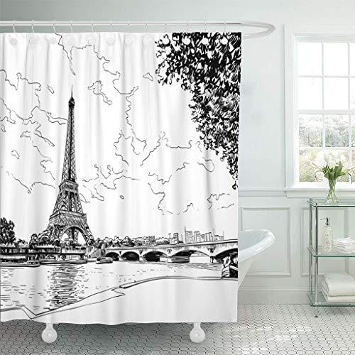 Emvency Fabric Shower Curtain with Hooks City Eiffel Tower Sketch Paris France Street Bridge Vintage Silhouette View Modern Town 72