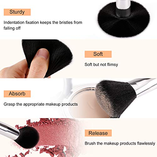 BESTOPE 16Pcs Makeup Brushes Set, 4Pcs Beauty Blender Sponge Set and 1 Brush Cleaner, Premium Synthetic Foundation Brushes Blending Face Powder Eye Shadows Make Up Brushes Kit 2