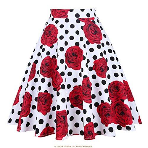 la Pois Midi Jupe Noire Jupe Plus Rosedot Femmes Jupes t imprim Taille s Floral Haute Skater Taille Femmes d't 50 Vintage nYvdqA5Uwx