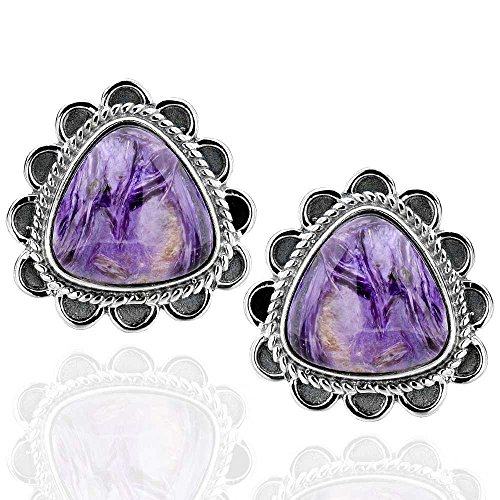 Sterling Silver Triangular Charoite Antique Finish Stud Earrings