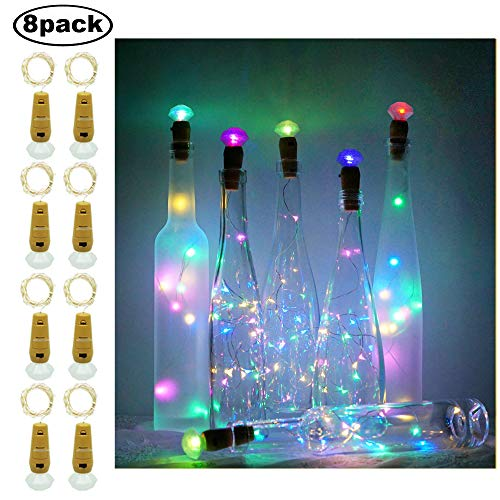 (Decem Diamond Wine Bottle Lights, 8 Pack 20 LEDs Waterproof Colorful(4 Colors) Silver Cork Shaped Fairy String Lights Night LED Lamp for Wedding, Party, Christmas, Garden, Home Decor)