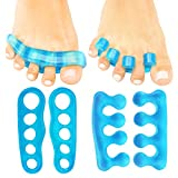 ViveSole Toe Separators (2 PAIRS) - Silicone Gel Spacer Dividers - Therapeutic Spa Toe Spreaders for Plantar Fasciitis, Pedicures, Bunions, Overlapping - Hammer Toe Care Pad Yoga Cushions - Men, Women