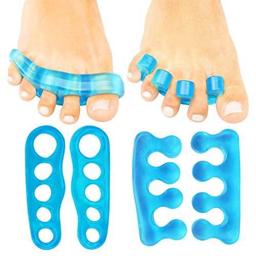 ViveSole Toe Separators (2 PAIRS) - Silicone Gel Spacer Dividers - Therapeutic Spa Toe Spreaders for Plantar Fasciitis, Pedicures, Bunions, Overlapping - Hammer Toe Care Pad Yoga Cushions - Men, Women by VIVE