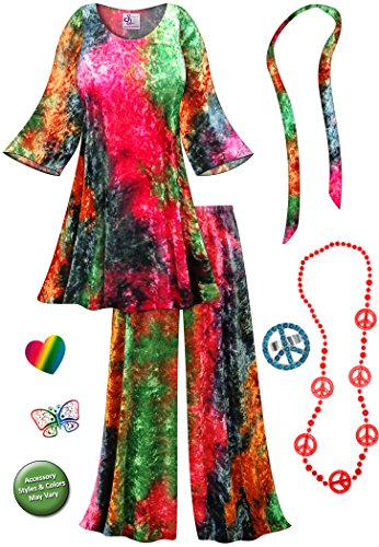Crush Velvet Tie Dye 2PC Plus Size Supersize Hippie Set Halloween Costume
