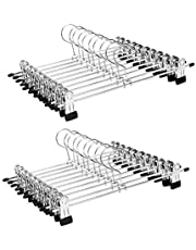 Clothes Hangers, IDMAX Adjustable Heavy Duty Hangers with Non-Slip Clips Pants Hangers Stainless Steel Skirt Coat Suit Hangers Stackable Coat Hangers Clothes Hook Space Saving (20 Pack)