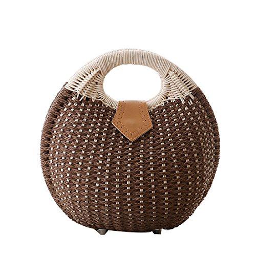 Guscio borsa rotondo mano Dunland Pochette Naturale a borsa donna Borsa Marrone spiaggia da ragazze paglia 101YqwC8