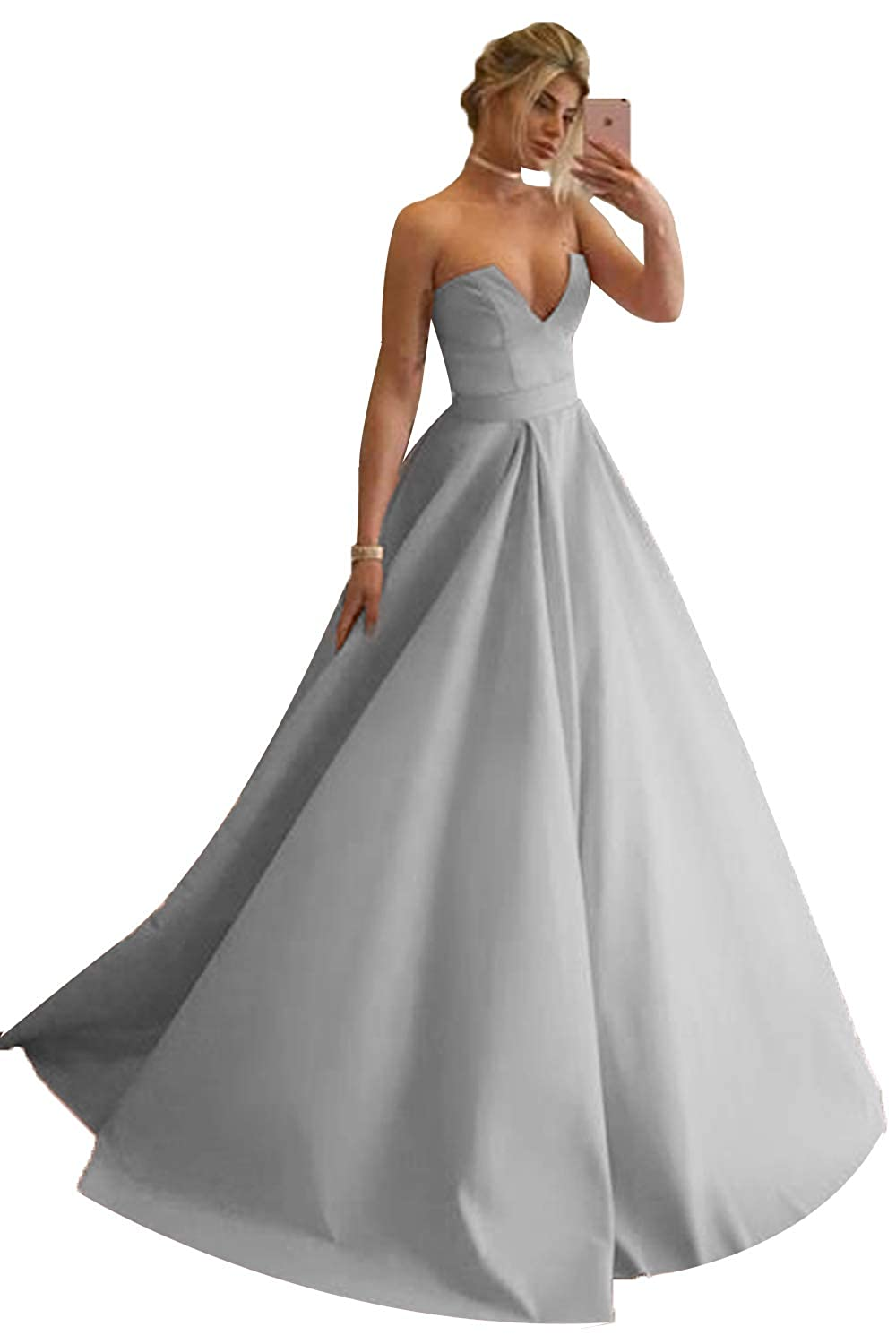 Grey Promworld Women's Strapless Sexy V Neck Prom Dress A Line Evening Gowns Formal Dress Long