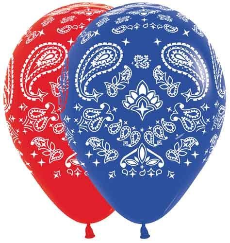 Bandana Western Print Balloons Latex Party Hoedown