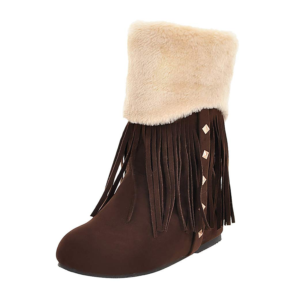 Kauneus➡ Snow Boots for Women Round Toe Comfy Warm Fur Lined Studded Tassel Winter Ankle Boot Fashion Boot by Kauneus Fashion Shoes