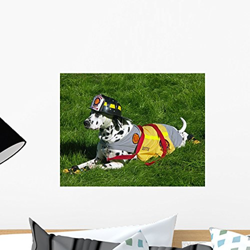 Dalmation Fire Department Mascot Wall Mural by Wallmonkeys Peel and Stick Graphic (18 in W x 14 in H) (Dalmatian Dressed For Halloween)