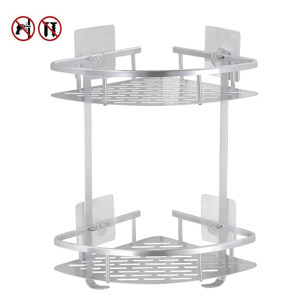 estante de ducha pegajoso de aluminio de la grieta de 2 niveles con el gancho colgante para el champ/ú Laimew no perfora el estante del ba/ño Tri/ángulo Lustroso