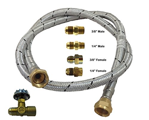 Low Pressure Out Door Gas Connector Kit Fit Most Gas Appliances [1199 1.5] (1.5 Meter- 4.92Feet) Needle Valve Male/Female, Flare/NPT Connectors Adapts Male/Female from 1/4