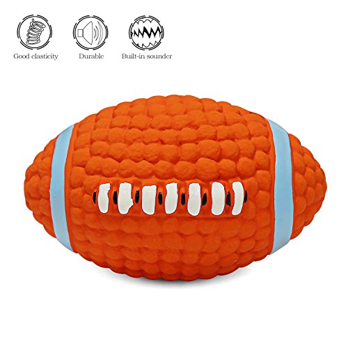 Dog Squeak Chew Ball Toys - Interactive and Chewing Durable Latex Balls Toys - Durable Dog Squeaky Rugby Chew Textured Toy for Small Medium Large Dogs - Nontoxic Squeak Chew Ball Toy - Cleans Teeth