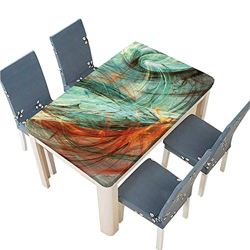 PINAFORE Spillproof Fabric Tablecloth ice and fire Abstract Bright Color Motion Composition Modern Futuristic Dynamic Kitchen Decoration Washable W41 x L80.5 INCH (Elastic -