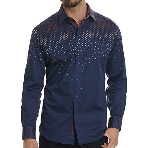 Robert Graham Men's Alec Legendary Fit Sport Shirt, Navy, XLarge