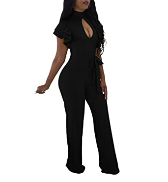 b3332c83ae AllForYou Women s Fashion Choker High Neck Short Sleeve Wide Leg Pants  Jumpsuit Long Party Cocktail Playsuit