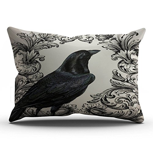 Hoooottle Custom Luxury Funny Brown Modern Vintage Halloween Crow Lumbar Pillowcase Rectangle Zippered One Side Printed 12x24 Inches Throw Pillow Case Cushion Cover