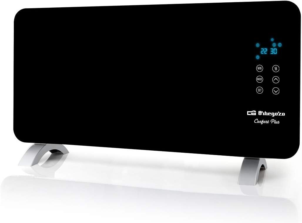Orbegozo REH 1550 – Panel radiante con frontal de cristal templado en color negro, apto para baño, mando a distancia y temporizador. 1500 W de potencia.