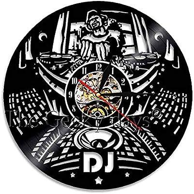 Record Player Mixer DJ Reloj de Pared Deejay Spinning Scratching Album Vinyl Record Reloj de Pared Music Club Party Wall Decor Art Clock: Amazon.es: Hogar