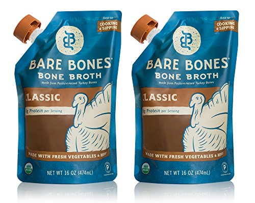 Organic Turkey Bone Broth by Bare Bones – Organic, Turkey Bone Broth, Protein/Collagen-rich, 16 oz (Collage Turkey)