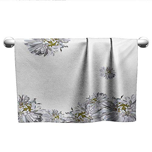 alisoso Dahlia Flower,Kids Swimming Towels Flourishing Summertime Fusion Poppy Chamomile Purity Icons of Habitat Art Quick Dry Towel Grey Mustard W 10