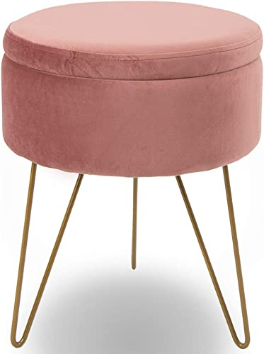 Glzifom Velvet Round Storage Ottomans Dressing Chair Modern Vanity Seat Makeup Stool