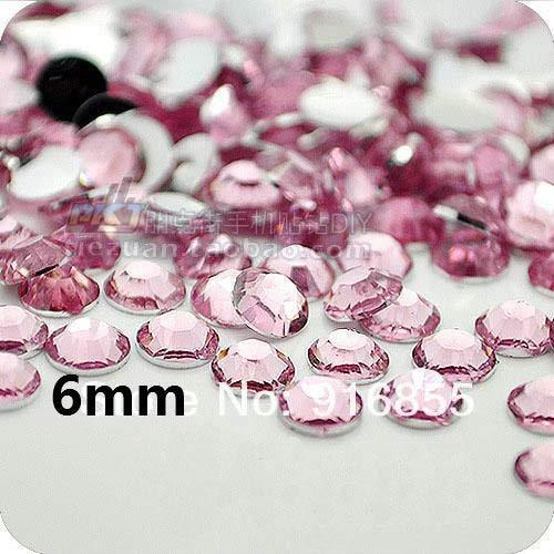 Calvas $0.99 18 Colors for Slection Wholesale 6mm SS30 288pcs Flatback Rhinestones DIY Stones Decoration Accessories - (Color: Light Pink 288pcs)