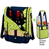 Picnic at Ascot Original Wine and Cheese Tote for 2 with Matching Cooler - Designed & Assembled in California - Trellis Green