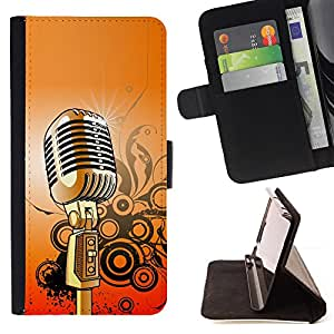 For LG G2 D800 Microphone Music Singing Retro Vintage Style PU Leather Case Wallet Flip Stand Flap Closure Cover
