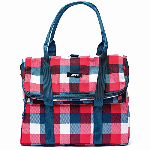PackIt Freezable Picnic Tote, Buffalo Check (Uptown Silverware)