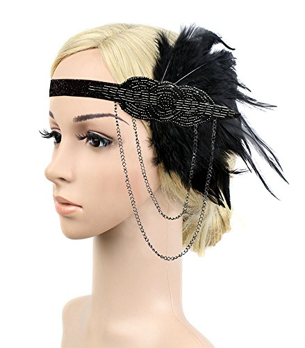 [Black Gold Headbpiece Vintage 1920s Headband Flapper Great Gatsby (Black)] (1920s Flapper Hairstyles)