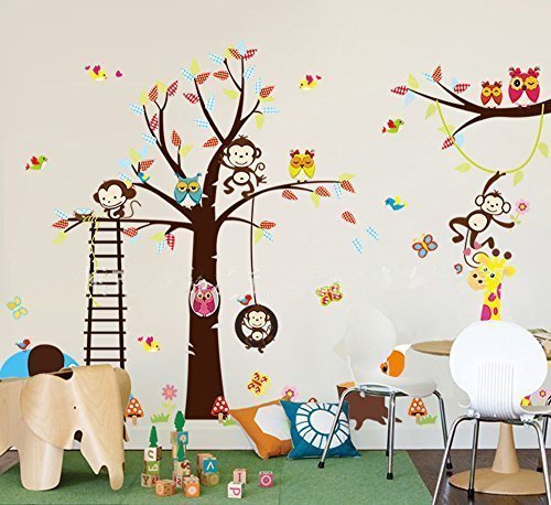 MCtraddy haya TM Lovely Blooms Zoo Nursery Children's Room Decorative Wall Stickers Kids Vinyl Sticker Home Decoration The owl Monkey Lion Elephant (Lamp Baby Zoo)
