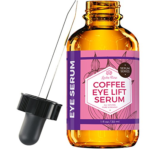 (Coffee Eye Lift Serum by Leven Rose Pure, Organic, Natural Reduces Puffiness, Anti Aging, Brightens Tired Eyes 1 oz)