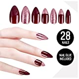 Prime Amazon Day Tip Beauty Plum Maroon Fake Nail Kit, Marooned, Faux Nails for Women, Fake Nails for Kids, Glue on Nails, Instant Nails for Ladies, Professional Tips, False Nails with Glue - MSRP 18