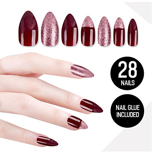 Tip Beauty Plum Maroon Fake Nail Kit, Marooned, Faux Nails for Women, Fake Nails for Kids, Glue on Nails, Instant Nails for Ladies, Professional Tips, False Nails with Glue - MSRP $18