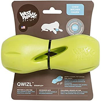 West Paw Zogoflex Qwizl Interactive Treat Dispensing Dog Puzzle Treat Toy for Dogs, 100% Guaranteed Tough, It Floats!, Made in USA, Large, Granny Smith