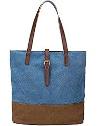 S-ZONE Women's Fashion Canvas Shoulder Handbag 14-inch Laptop Tote Bag