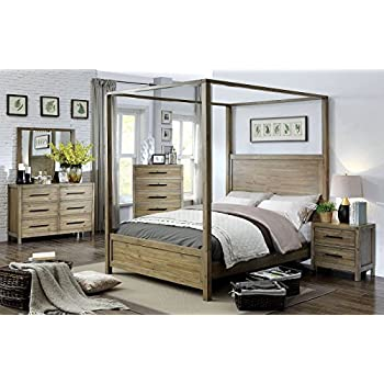 Contemporary Canopy Bed made with solid wood and veneers in Light Oak color - Eastern King size