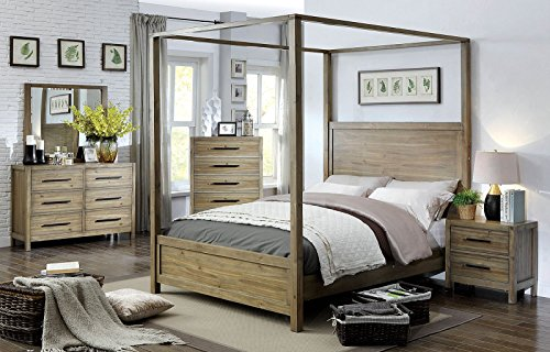 FV Designs Contemporary Canopy Bed made with solid wood and veneers in Light Oak color - California King size (Canopy Bedroom Oak Bed)