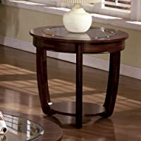 End Table with Glass Top in Dark Cherry Finish by Furniture of America
