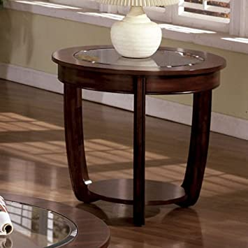 Superior End Table With Glass Top In Dark Cherry Finish By Furniture Of America