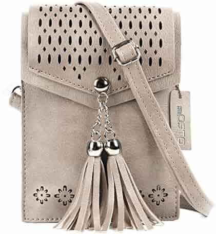 seOSTO Women Small Crossbody Purse, Tassel Cell Phone Purse Wallet Bags