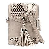 Women Small Crossbody Bag, seOSTO Tassel Cell Phone Purse Wallet Bags (Beige) …